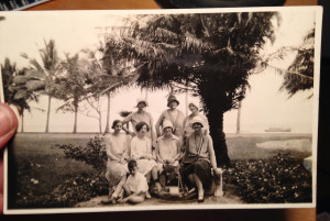 In Manila, P.I., with a bevy of ladies along then-Dewey Boulevard (now Roxas Boulevard), Manila Bay in the background.