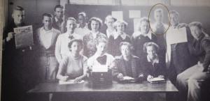 High school newspaper staff photo, mid-1930s.