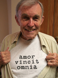 Wearing one of his favorite t-shirts, in the kitchen of his place at the retirement community. September, 2008.