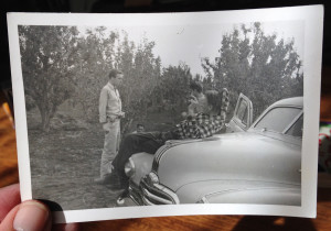 Out in the field in Alhambra Valley in 1948 with fellow grad students and his cigarette-smoking Professor Kessli.